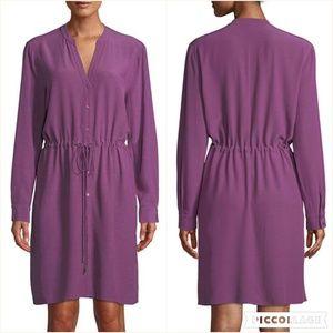 Petite Long-Sleeve Crepe Drawstring-Waist Dress